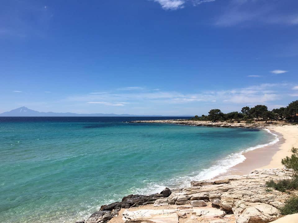 best family beaches in thassos - sandy beach Psili Ammos and blue sky