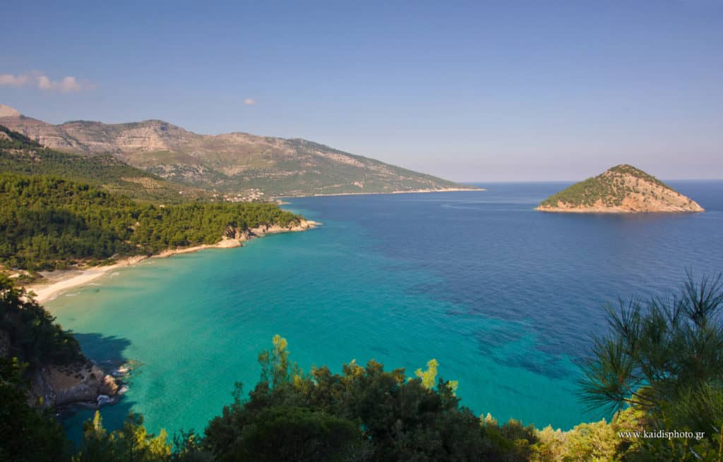 best places in thassos - panoramic view to Paradise Beach