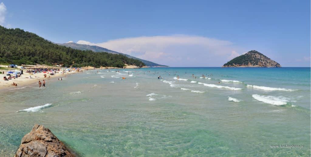 Paradise beach beautiful sandy beach in Thassos Island Greece