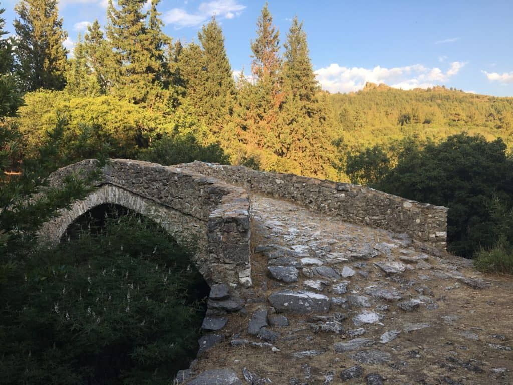 old traditional stone bridge in Theologos