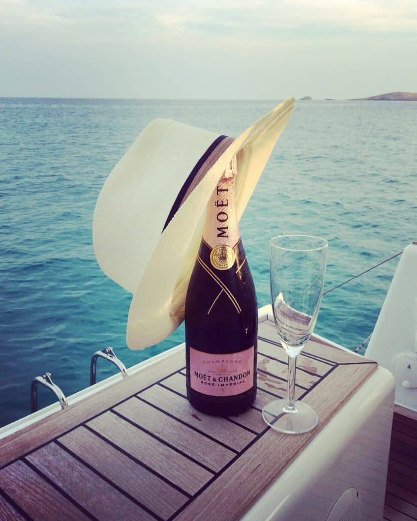 Moet champagne at Aeolus yacht