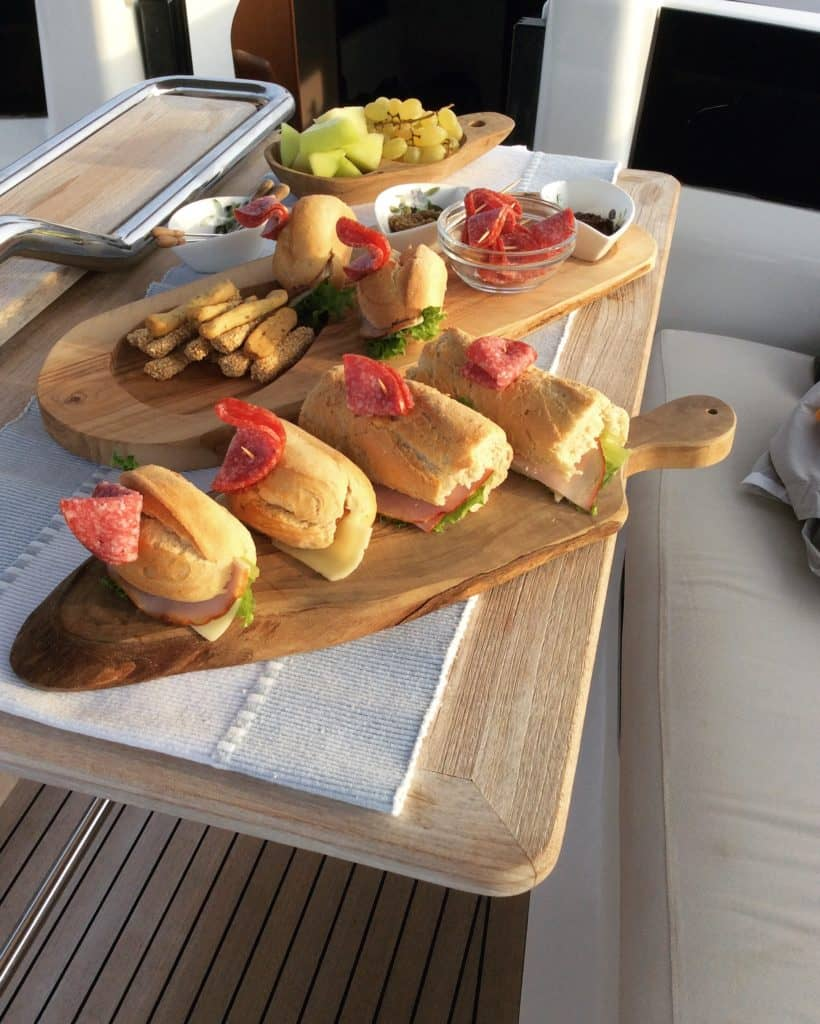 lunch time at at aeolus yacht cheese and ham platter