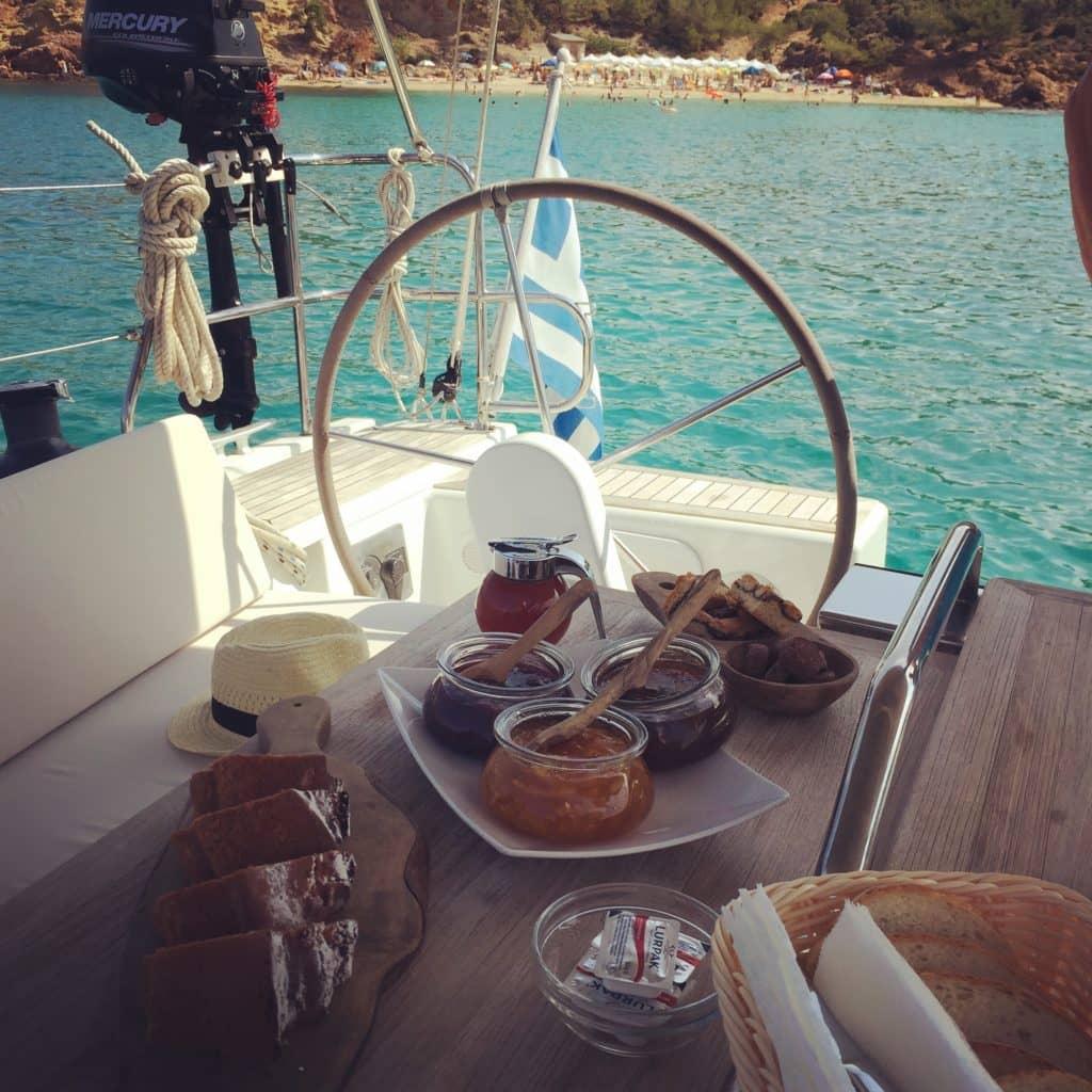 breakfast at Aeolus yacht Thassos