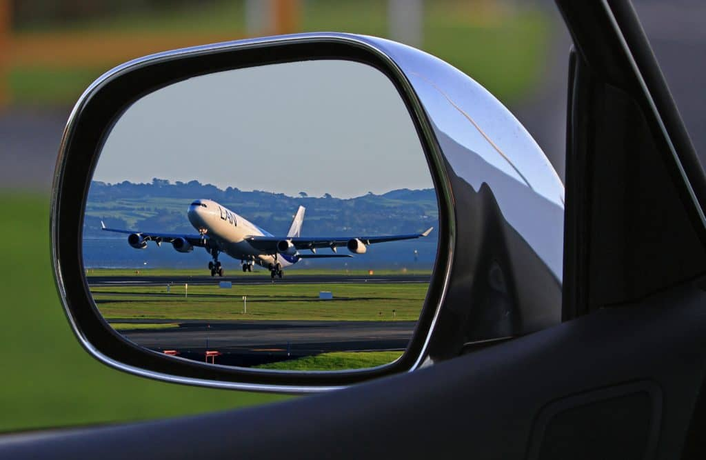 Mirror view of Airplane in Thessaloniki Airport